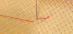 Обводка деталей вышивки строчечным стежком.